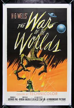 WAR OF THE WORLDS CineMasterpieces ORIGINAL MOVIE POSTER SCI FI ALIEN 1953