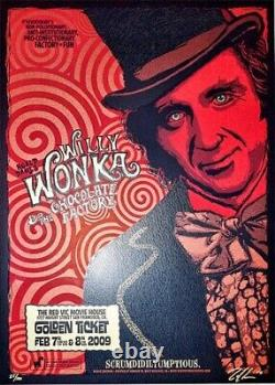 Zoltron Willy Wonka and the Chocolate Factory Red Vic Movie Poster Only 100 made